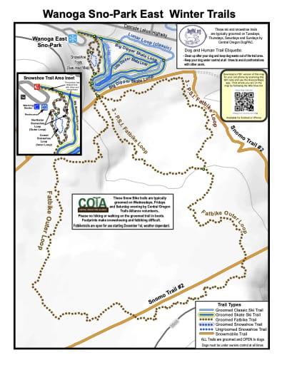map of Deschutes Sno-Parks - Wanoga