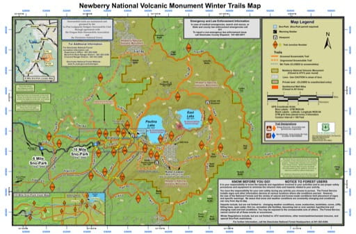 map of Newberry National Volcanic Monument - Winter Trails