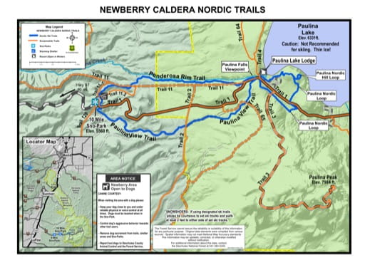 Map of Newberry Caldera Nordic Trails in the Newberry National Volcanic Monument (NVM) in Oregon. Published by the U.S. Forest Service (USFS).