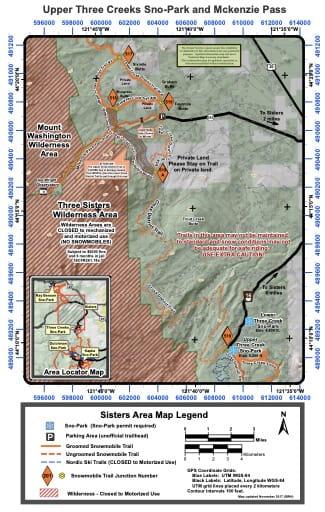 map of Deschutes Sno-Parks - Upper Three Creeks and Mckenzie Pass