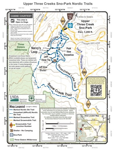 Map of Upper Three Creeks Sno-Park Nordic Trails in Deschutes National Forest (NF) in Oregon. Published by the U.S. Forest Service (USFS).