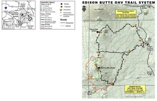 map of Deschutes NF - Edison Butte OHV Trails