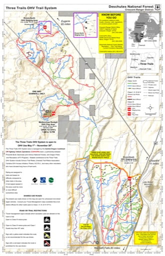 map of Deschutes NF - Three Trails OHV