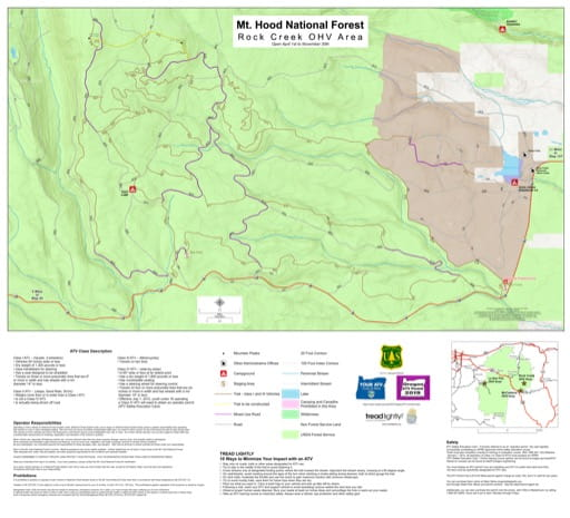 Map of Rock Creek OHV area in Mount Hood National Forest (NF) in Oregon. Published by the U.S. Forest Service (USFS).