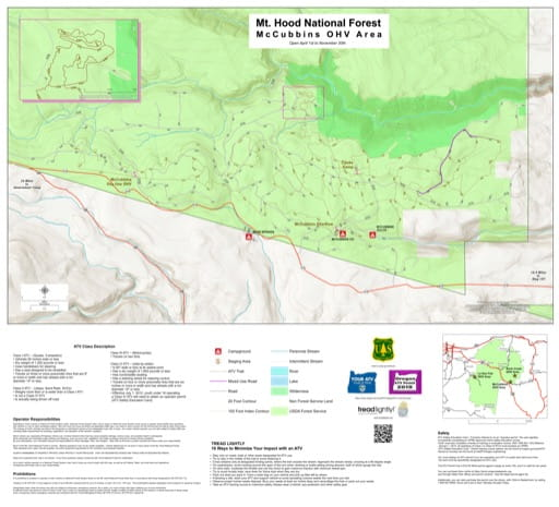 Map of McCubbins Off-Highway Vehicle (OHV) area in Mount Hood National Forest (NF) in Oregon. Published by the U.S. Forest Service (USFS).