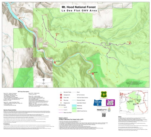 Map of La Dee Flat Off-Highway Vehicle (OHV) area in Mount Hood National Forest (NF) in Oregon. Published by the U.S. Forest Service (USFS).