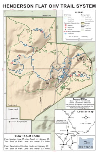 Map of Off-Highway Vehicle (OHV) Trails at Henderson Flat in Ochoco National Forest (NF) in Oregon. Published by the U.S. Forest Service (USFS).
