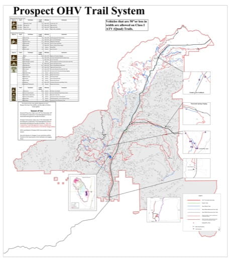 Map of the Prospect Off-Highway Vehicle (OHV) Trails System in Rogue River-Siskiyou National Forest (NF) in Oregon. Published by the U.S. Forest Service (USFS).