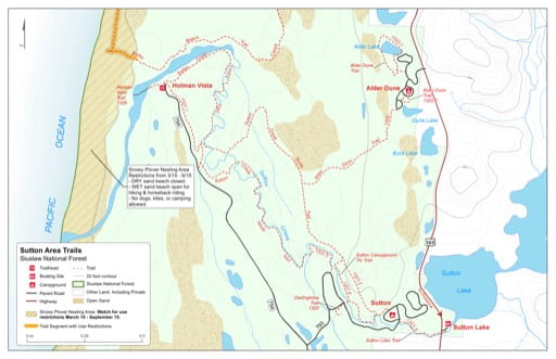Trail Map of the Sutton area in Siuslaw National Forest (NF) in Oregon. Published by the U.S. Forest Service (USFS).