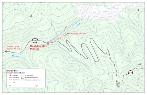 Map of Pioneer Trail #1316 in Siuslaw National Forest (NF) in Oregon. Published by the U.S. Forest Service (USFS).
