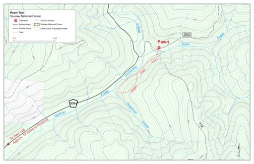 Map of Pawn Trail #1317 in Siuslaw National Forest (NF) in Oregon. Published by the U.S. Forest Service (USFS).