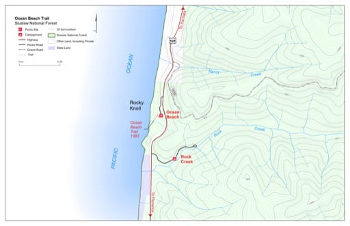 Map of Ocean Beach Trail #1383 in Siuslaw National Forest (NF) in Oregon. Published by the U.S. Forest Service (USFS).