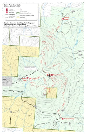Map of East Ridge Trail #1324, Meadowedge Trail #1325, North Ridge Trail #1350, Summit Trail #1388 and Tie Trail #1313 in the Marys Peak area in Siuslaw National Forest (NF) in Oregon. Published by the U.S. Forest Service (USFS).