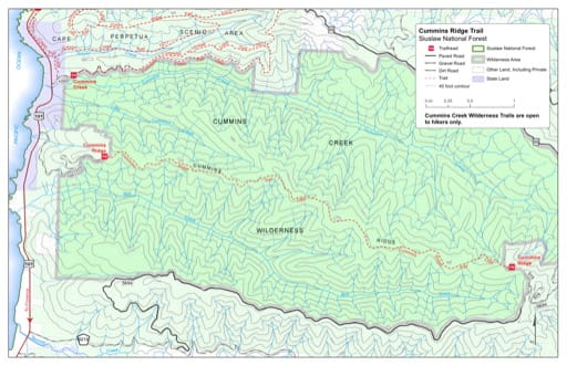 Map of Cummins Ridge Trail #1366 in Siuslaw National Forest (NF) in Oregon. Published by the U.S. Forest Service (USFS).