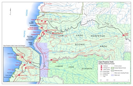 Map of Amanda's Trail #1386, Cape Cove Trail #1364.1, Captain Cook Trail #1364.2, Cooks Ridge Trail #1372, Cummins Creek Trail #1382, Cummins Creek Loop Trail #1382-A, Discovery Loop Trail #1387, Giant Spruce Trail #1365, Gwynn Creek Trail #1371, Oregon Coast Trail #1308, Restless Waters Trail #1364, Saint Perpetua Trail #1306, Whispering Spruce Trail #1305 in the Cape Perpetua area in Siuslaw National Forest (NF) in Oregon. Published by the U.S. Forest Service (USFS).