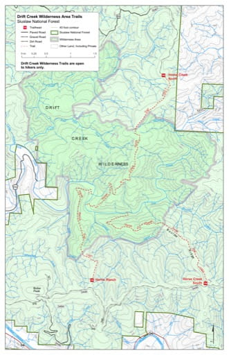 Map of Harris Ranch Trail #1347, Horse Creek North Trail #1362.1, Horse Creek South Trail #1362 in the Drift Creek Wilderness in Siuslaw National Forest (NF) in Oregon. Published by the U.S. Forest Service (USFS).