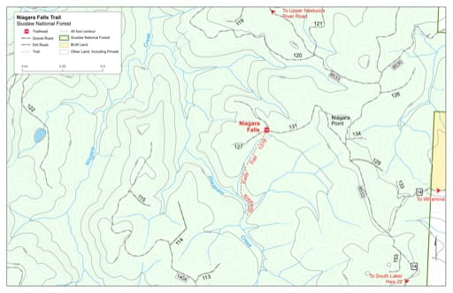 Map of Niagara Falls Trail #1379 in Siuslaw National Forest (NF) in Oregon. Published by the U.S. Forest Service (USFS).