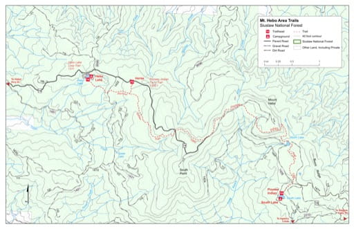Map of Hebo Lake Loop Trail #1311, Pioneer-Indian Trail #1300 in the Mt. Hebo area in Siuslaw National Forest (NF) in Oregon. Published by the U.S. Forest Service (USFS).