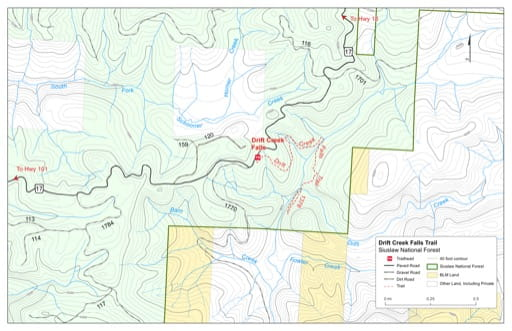 Map of Drift Creek Falls Trail #1378 in the Mt. Hebo area in Siuslaw National Forest (NF) in Oregon. Published by the U.S. Forest Service (USFS).