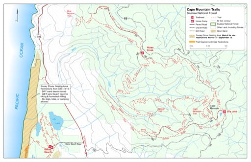 Map of Cape Mountain Trails #1329, Berry Creek Trail, Berry Lane Trail, Blue Horizon Trail, Cape Mountain Trail, Horseshoe Lane Trail, Lookout Loop Trail, Nelson Ridge Trail, Princess Tasha Trail, Scurvy Ridge Trail, Wapati Trail in the Cape Mountain area in Siuslaw National Forest (NF) in Oregon. Published by the U.S. Forest Service (USFS).