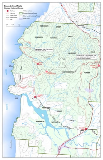 Map of Cascade Head Trail #1310, Hart's Cove Trail #1303 in the Cascade Head area in Siuslaw National Forest (NF) in Oregon. Published by the U.S. Forest Service (USFS).