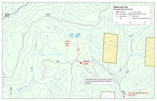 Map of Battle Lake Trail #1302 in Siuslaw National Forest (NF) in Oregon. Published by the U.S. Forest Service (USFS).