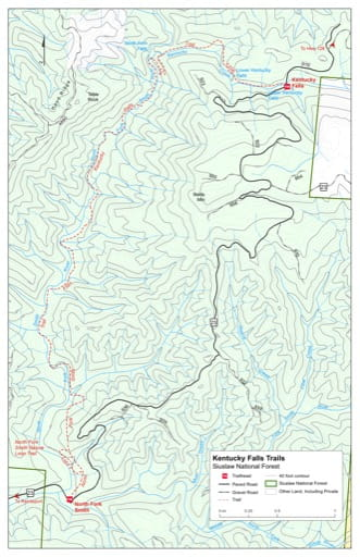 Map of Kentucky Falls Trail #1376, North Fork Smith Trail #1351 in the Kentucky Falls area in Siuslaw National Forest (NF) in Oregon. Published by the U.S. Forest Service (USFS).
