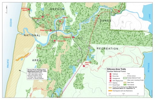 Map of Chief Tsiltcoos Trail #1359, Lagoon Trail #1330, Siltcoos Lake Trail #1333, Wax Myrtle Trail #1337 in the Siltcoos area in Siuslaw National Forest (NF) in Oregon. Published by the U.S. Forest Service (USFS).