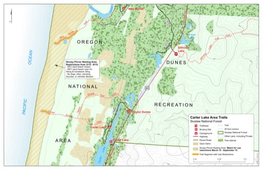 Map of Carter Dunes Trail #1384, Taylor Dunes Trail #1335 in the Carter Lake area in Siuslaw National Forest (NF) in Oregon. Published by the U.S. Forest Service (USFS).