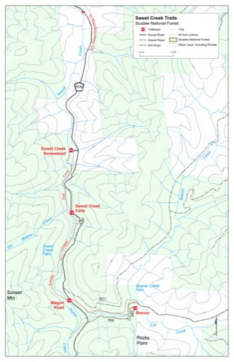 Map of Sweet Creek Trail #1319 in Siuslaw National Forest (NF) in Oregon. Published by the U.S. Forest Service (USFS).