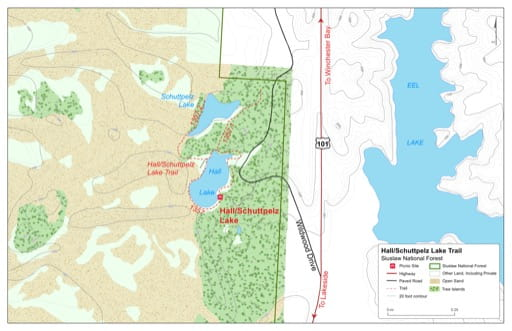 Map of Hall/Schuttpelz Lake Trail #1357 in Siuslaw National Forest (NF) in Oregon. Published by the U.S. Forest Service (USFS).