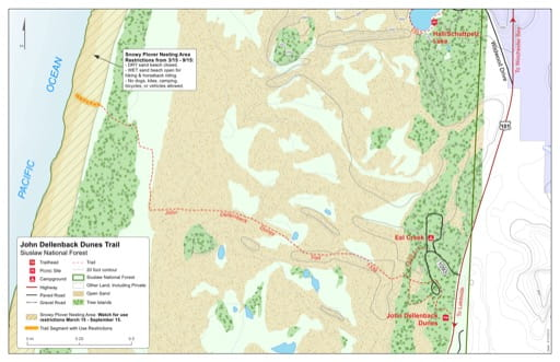 Map of John Dellenback Dunes Trail #1339 in Siuslaw National Forest (NF) in Oregon. Published by the U.S. Forest Service (USFS).