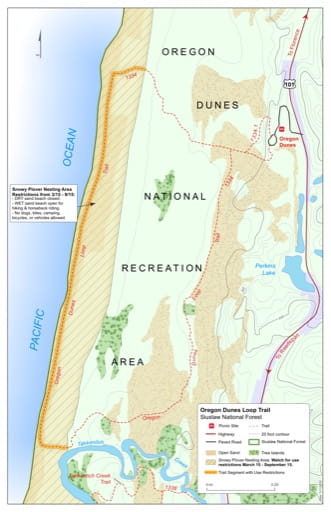 Map of Oregon Dunes Trail #1334 in Siuslaw National Forest (NF) in Oregon. Published by the U.S. Forest Service (USFS).
