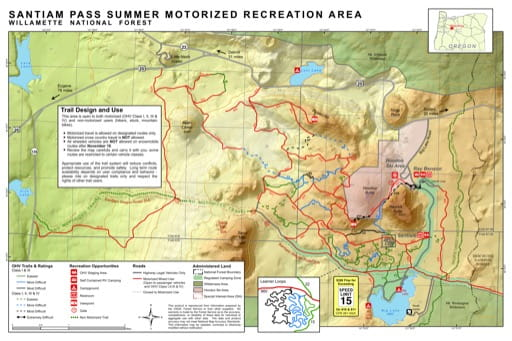 Trails Map of Santiam Pass Summer Motorized Recreation Area in Willamette National Forest (NF) in Oregon. Published by the U.S. Forest Service (USFS).