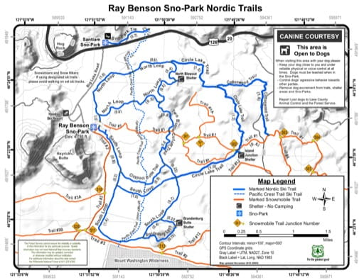 Map of Ray Benson Sno-Park Nordic Trails in Willamette National Forest (NF) in Oregon. Published by the U.S. Forest Service (USFS).
