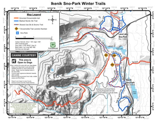Map of Ikenick Sno-Park Winter Trails in Willamette National Forest (NF) in Oregon. Published by the U.S. Forest Service (USFS).