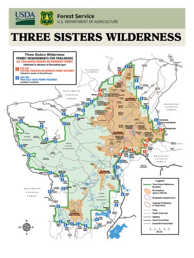 Map showing Permit Requirements for Trailheads in the Three Sisters Wilderness in Oregon. Published by the U.S. Forest Service (USFS).