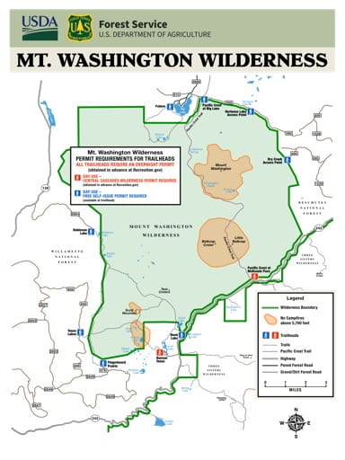 Map showing Permit Requirements for Trailheads in the Mt. Washington Wilderness in Oregon. Published by the U.S. Forest Service (USFS).