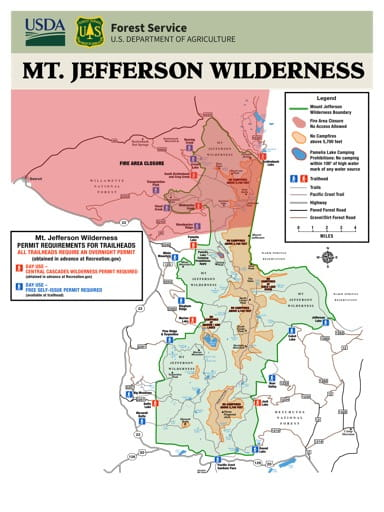 Map showing Permit Requirements for Trailheads in the Mt. Jefferson Wilderness in Oregon. Published by the U.S. Forest Service (USFS).