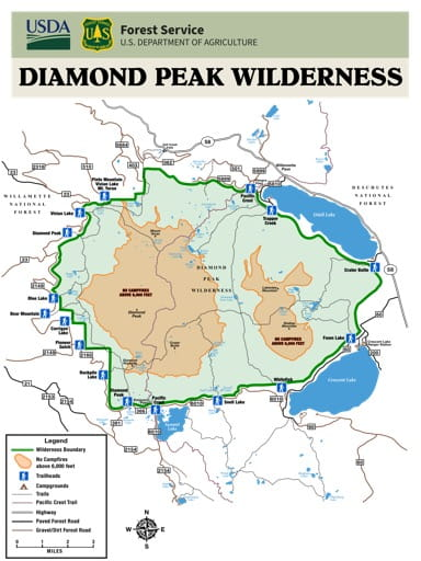 Map showing Permit Requirements for Trailheads in the Diamond Peak Wilderness in Oregon. Published by the U.S. Forest Service (USFS).