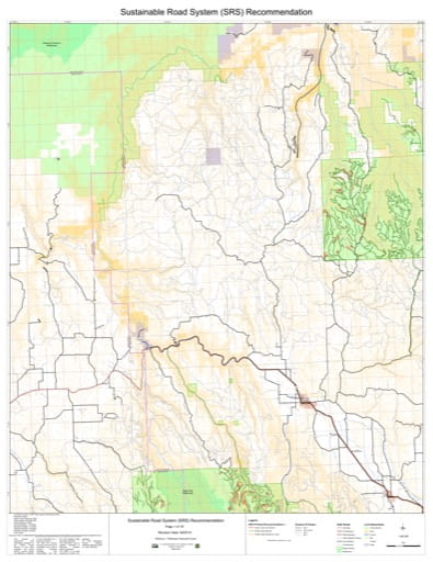 Map 1 of the Sustainable Road System Recommendation for Wallowa-Whitman National Forest (NF) in Oregon. Published by the U.S. Forest Service (USFS).