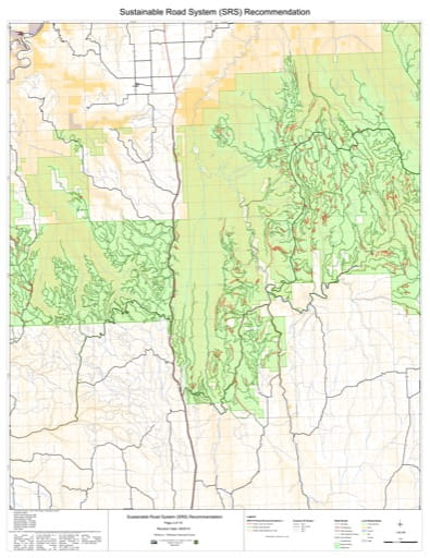 Map 2 of the Sustainable Road System Recommendation for Wallowa-Whitman National Forest (NF) in Oregon. Published by the U.S. Forest Service (USFS).
