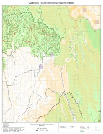 Map 3 of the Sustainable Road System Recommendation for Wallowa-Whitman National Forest (NF) in Oregon. Published by the U.S. Forest Service (USFS).