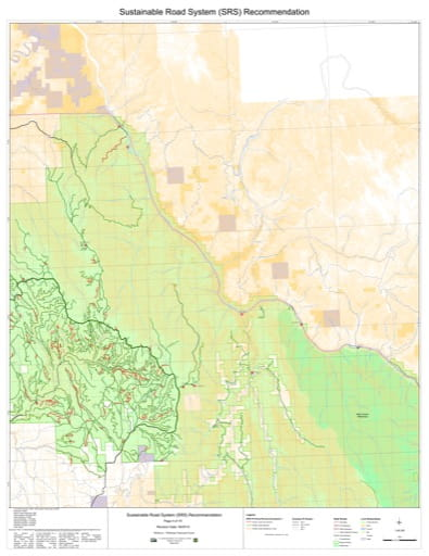 Map 4 of the Sustainable Road System Recommendation for Wallowa-Whitman National Forest (NF) in Oregon. Published by the U.S. Forest Service (USFS).