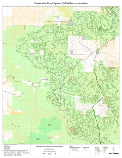 Map 6 of the Sustainable Road System Recommendation for Wallowa-Whitman National Forest (NF) in Oregon. Published by the U.S. Forest Service (USFS).