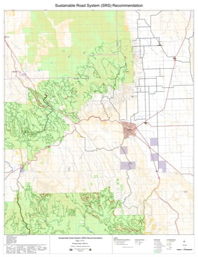 Map 7 of the Sustainable Road System Recommendation for Wallowa-Whitman National Forest (NF) in Oregon. Published by the U.S. Forest Service (USFS).