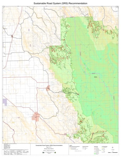 Map 8 of the Sustainable Road System Recommendation for Wallowa-Whitman National Forest (NF) in Oregon. Published by the U.S. Forest Service (USFS).