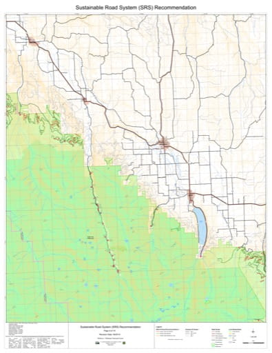 Map 9 of the Sustainable Road System Recommendation for Wallowa-Whitman National Forest (NF) in Oregon. Published by the U.S. Forest Service (USFS).