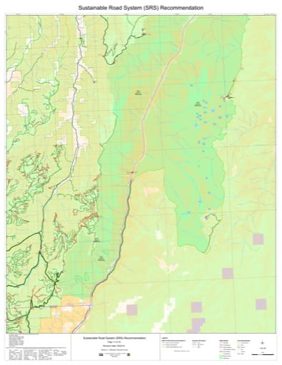 Map 11 of the Sustainable Road System Recommendation for Wallowa-Whitman National Forest (NF) in Oregon. Published by the U.S. Forest Service (USFS).