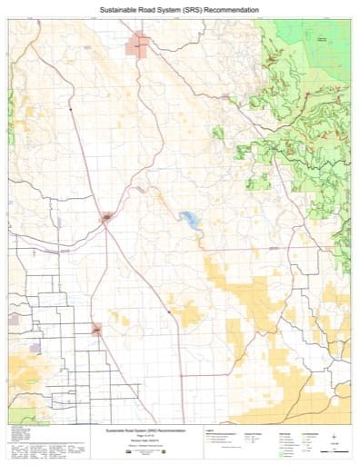 Map 13 of the Sustainable Road System Recommendation for Wallowa-Whitman National Forest (NF) in Oregon. Published by the U.S. Forest Service (USFS).